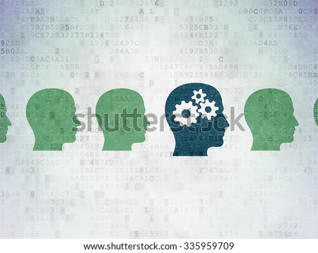 Learning concept: row of Painted green head icons around blue head with gears icon on Digital Paper background