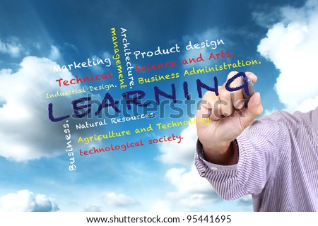 Learning Department of University and other related words,hand drawn on blue sky - stock photo