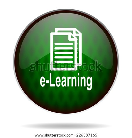 learning green internet icon  - stock photo