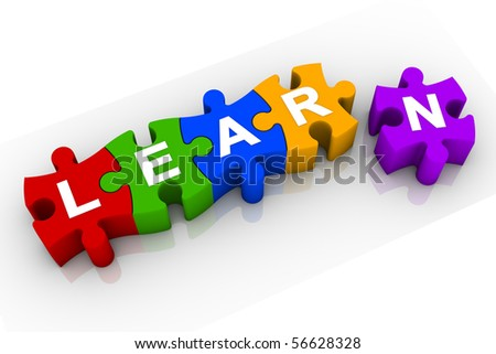 Learning process. Jigsaw pieces. Part of a series. - stock photo