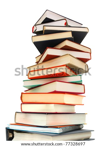 Learning's textbook pile - stock photo