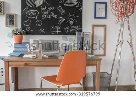 Learning space for little scientist in the house  - stock photo