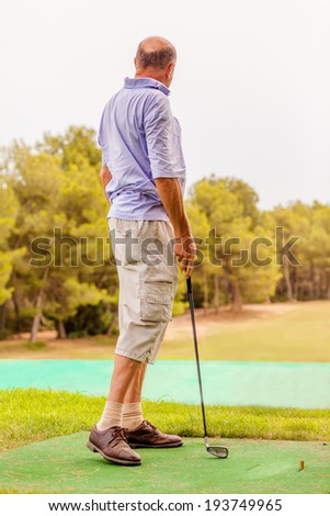 learning sports in higher age - stock photo