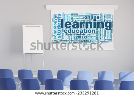 Learning tag cloud on flipchart in white seminar room (3D Rendering) - stock photo