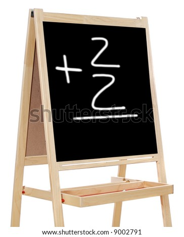 Learning to add numbers in a black slate - stock photo