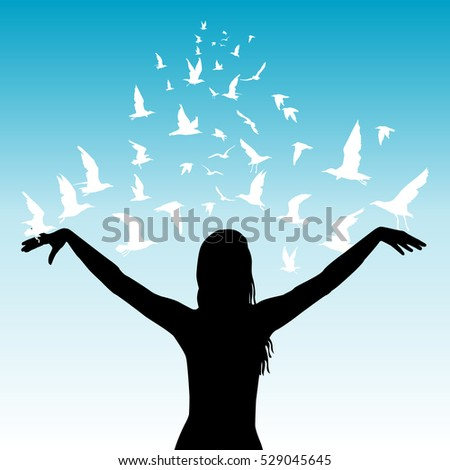 Learning to fly abstract concept with silhouettes of woman and white birds