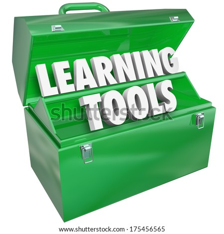 Learning Tools 3d Words Toolbox Education School Teaching - stock photo
