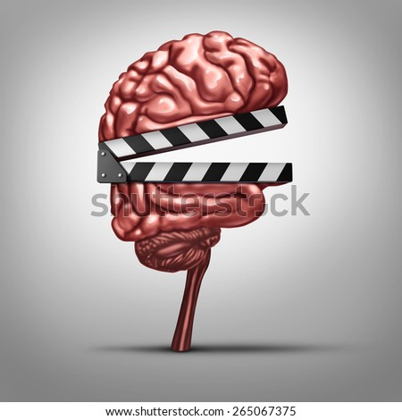 Learning video and education clips or instruction online as a clapboard shaped as a human brain as a tool for educating and teaching with entertainment media as broadcast on the internet. - stock photo