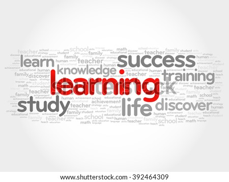 Learning word cloud, business concept - stock photo