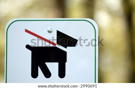 Leash Law Sign - stock photo