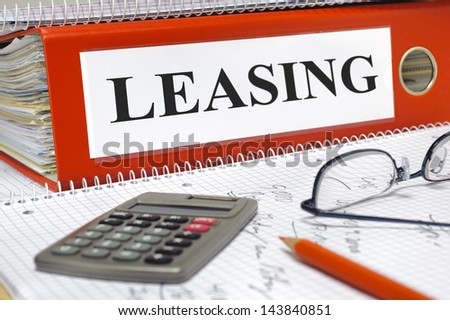 leasing contracts in folder - stock photo