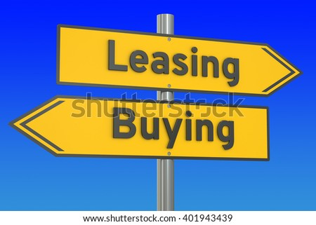 leasing or buying concept on the road signpost, 3D rendering - stock photo