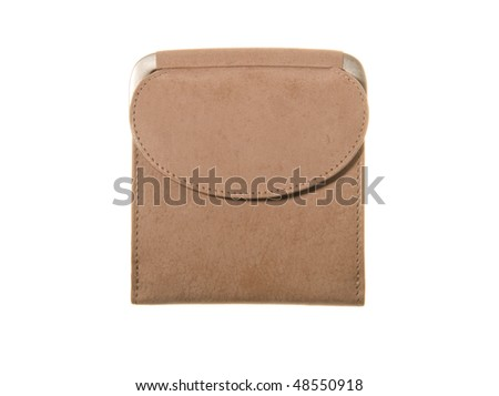 leathe change purse isolated on white background