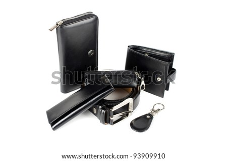 Leather accessories on a white - stock photo