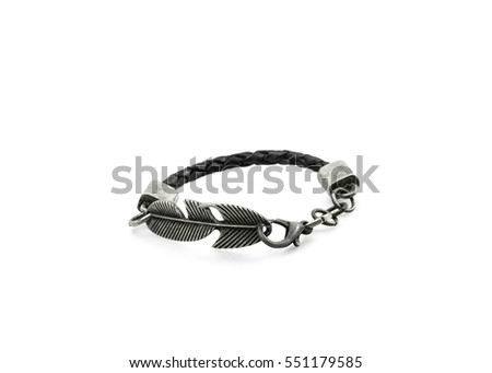 Leather and metal bracelet on white