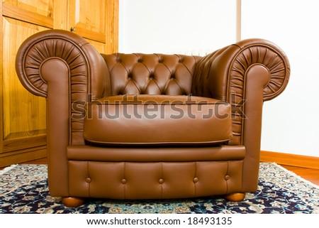 Leather armchair - stock photo