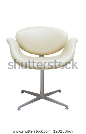 leather armchair isolated on white. - stock photo