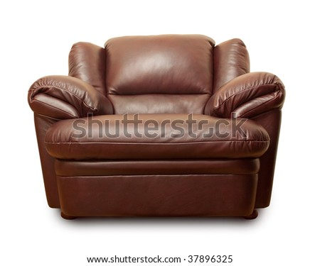 Leather armchair isolated on white - stock photo