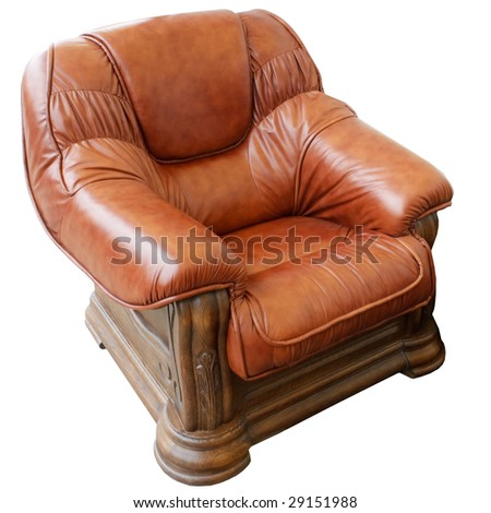 Leather armchair isolated on white background - stock photo