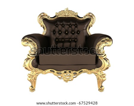 Leather Armchair with luxury gold frame - stock photo