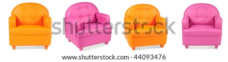 leather armchairs on white background