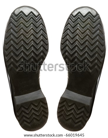 leather army boots footprints - stock photo