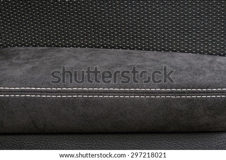 Leather background. Modern car interior detail.  - stock photo