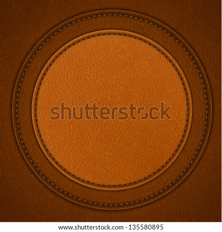 Leather background with round stitched label - raster version - stock photo