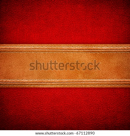 leather background with strip - stock photo