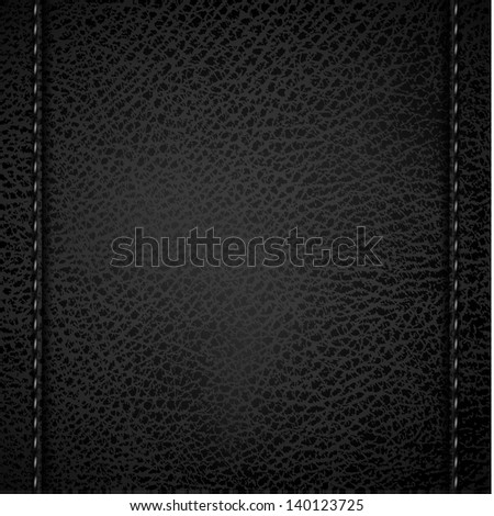 Leather background with vertical stitches - raster version - stock photo
