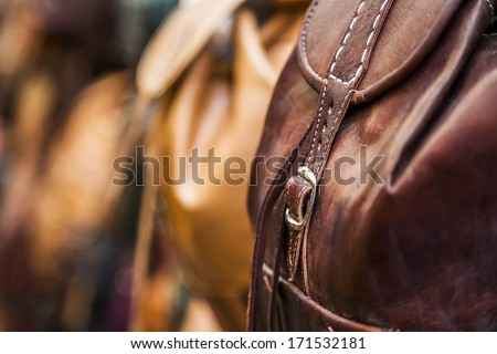 Leather backpack detail.