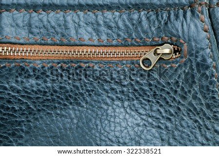 Leather Bag Close Up.black leather bag zipper. - stock photo
