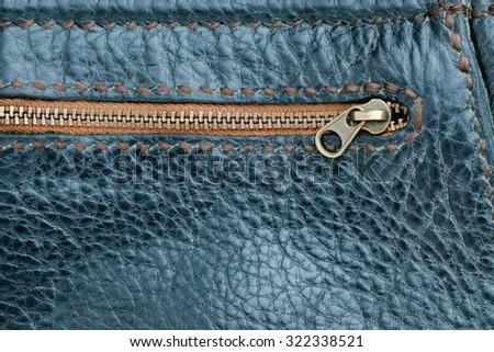 Leather Bag Close Up.black leather bag zipper. - stock photo