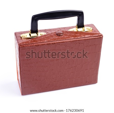 Leather bag on isolated white background