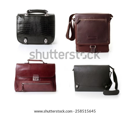 leather bags over white background - stock photo