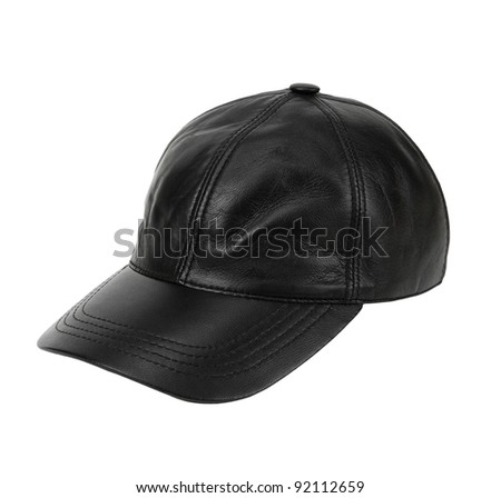 leather baseball cap isolated on white background