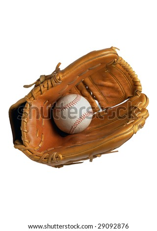 leather baseball glove and a baseball on a white background - stock photo