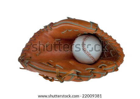 Leather baseball glove and ball isolated on a white background.