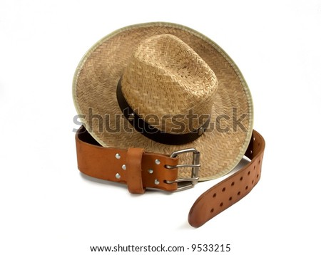 leather belt and straw hat - stock photo