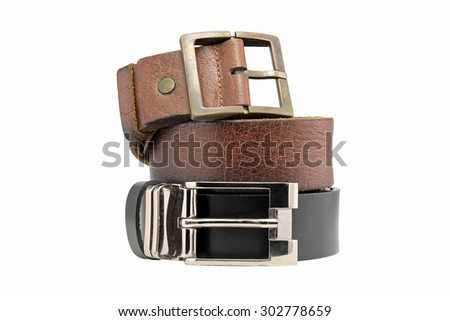 Leather belt for men isolated on white background. Men fashion. Men accessories.  - stock photo