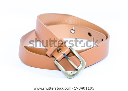 Leather belt for women Isolated on white - stock photo