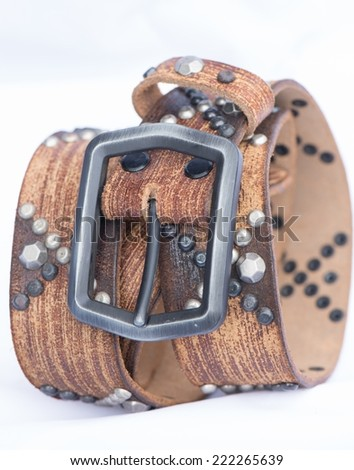 Leather belt have metal dots for design - stock photo