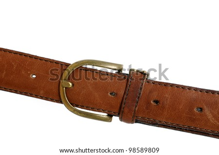 Leather belt in front of a white background