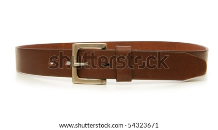 Leather belt isolated on the white background - stock photo