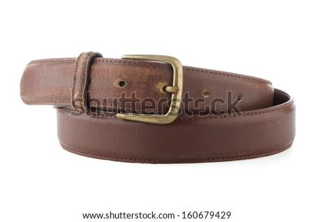 Leather belt isolated on white background. - stock photo