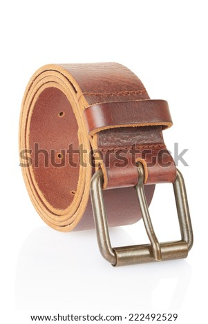 Leather belt isolated on white, clipping path included