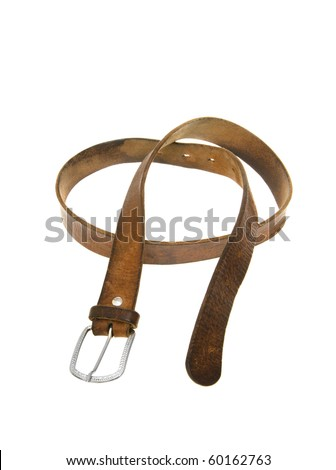 Leather belt on a white background close up - stock photo