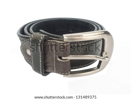 leather belt on white background.