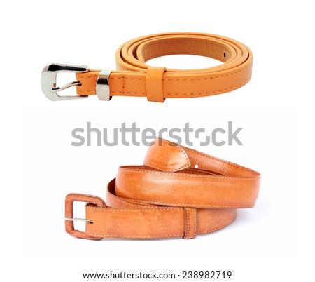 Leather belt on white background. - stock photo