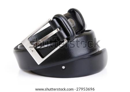 Leather belt on white background - stock photo